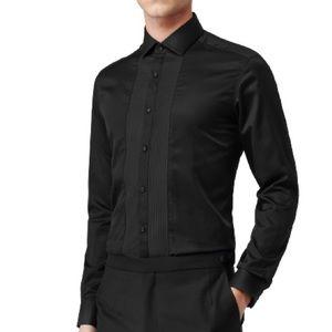 REISS Roulette Pleat Front Shirt in Black